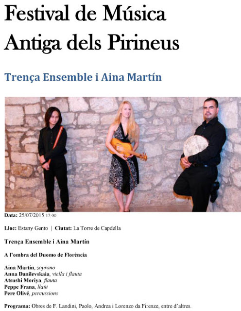 Festival de Música Antiga dels Pirineus, 2015
